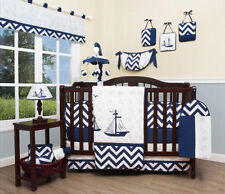 Blue & White Nautical Explorer Baby Crib Bedding Set, 13pcs