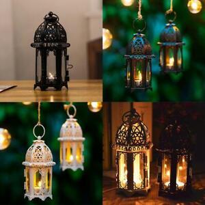 Iron Candle Holder Lantern Light Lamp Hanging Home Wedding Decor Garden A8R3