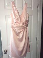 NEW David's Bridal Short Sleeveless Wedding Dress Pink F14823 Bridesmaid Sz 6