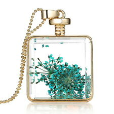Fashion Floating Charms Glass Square Locket Pendant Necklace Jewelry Gift