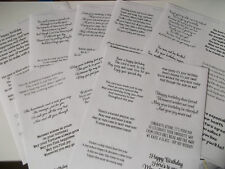 Transparent Verses Easy Peel Off Stickers for Birthday Cards Set Of Sheets