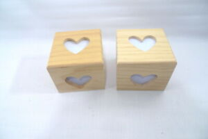 2 Unpainted WOOD BOXES w/Heart Cutout Valentine's Day Project Decorate Embellish