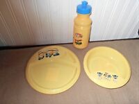 New 3 Pc Hard Plastic Set Minions Despicable Me Yellow Plate Bowl Water Bottle