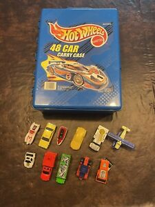 1999 MATTEL HOT WHEELS 48 CAR CARRY CASE Made in USA w/ cars Matchbox Nascar etc