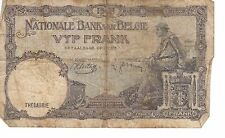 BELGIUM BELGIE BANK NOTE 5 FRANCS 1938