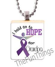 Purple Ribbon Hold Hope for Grandpa Scrabble Tile Pendant Alzheimers Support