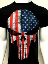 USA flag Punisher Skull t shirt tactical 100% cotton new police NWT