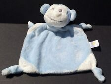 Piccolo Bambino light blue/white monkey Baby Security Blanket toy; knot corners