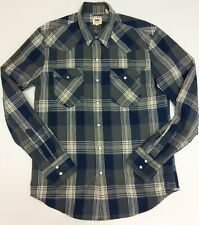 LEVI'S NAVY / GREY CHECK LONG SLEEVED SHIRT - SIZE M