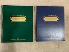 New Two Roaring Springs Teachers' Record Roll Book Green/Blue