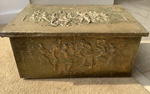 Vintage Brass Embossed Log/Coal Box