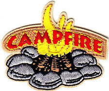 """""""CAMPFIRE""""- Iron On Embroidered Patch - Trip -  Vacation -  Camping - Outdoors"""