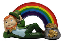 Leprechaun Rainbow Pot of Gold Figurine St. Patrick's Day Irish Celtic Wishes