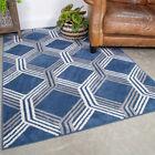 Navy Blue Geometric Runner Rug Modern Hall Carpet Runner Rugs For Living Room