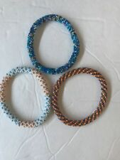 3 SET Nepal Rolls Glass Beaded bracelet crochet handmade bead bangle USA Exact