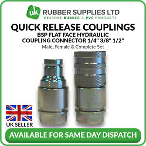 """Quick Release Fitting BSP Flat Face Hydraulic Coupling Connector 1/4"""" 3/8"""" 1/2"""""""