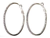 "Swarovski Elements Crystal 2"" Somerset Hoop Earrings Rhodium Authentic New 7223v"