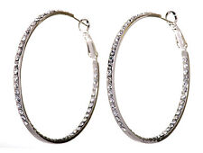 "Swarovski Elements Crystal 2"" Somerset Hoop Pierced Earrings Rhodium Plated 223w"