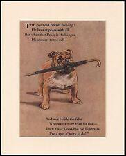 BRITISH BULLDOG WITH UMBRELLA FIGHTING SPIRIT DOG PRINT MOUNTED READY TO FRAME