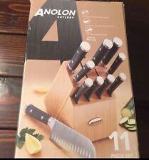 Anolon 11-Piece Japanese Stainless Steel Knife Set, Black
