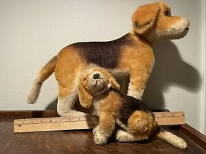 Vintage Steiff large and small dog