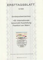 GERMANY 14 AUGUST 1983 CAR EXHIBITION FIRST DAY PRESENTATION CARD SHS