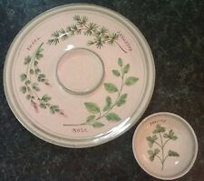 2 pc Williams Sonoma Italy Handmade Hand painted Chip Dip Platter Plate Herbs