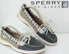 SPERRY TOP SIDER Womens 9 M Canvas and Leather Boat Deck Shoes Navy Tan Gray B15