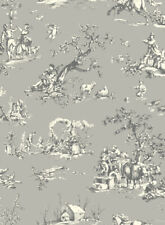 Grey Black White Toile AB2131 The Carlisle Company, York Wall Coverings Designer