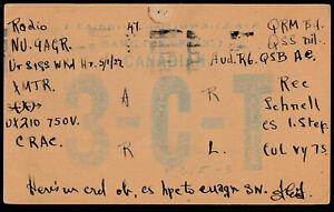 Canada 1927 Admiral Era Postcard VERY EARLY QSL RADIO CARD, Hamilton - ph152