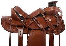 CUSTOM WESTERN RANCH ROPING COWBOY WADE TREE LEATHER HORSE SADDLE TACK 15