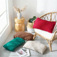 Knitted Cushions Cover Button Pillow Case Pillows Covers Sofa Waist Throw Home