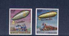 tcb/   Comores  train et dirigeable   nd  1977    20f et 25f   num:  179/80   **