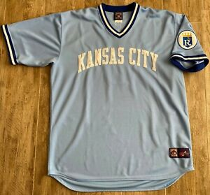 Majestic Cooperstown Collection KC Royals George Brett Powder Blue Jersey-2XL