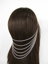 New Women Long Gold Metal Head Chain Hair Piece Pins Jewelry Claws Silver Black
