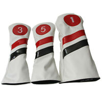 3x Soft Leather Golf Wood Club Headcover #1 #3 #5 Driver Fairway Wood Head Cover