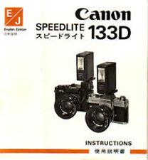 CANON SPEEDLITE 133D Camera Flash Instruction Manual ENGLISH Original Edition