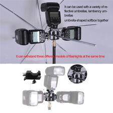 All-metal Tri-Hot Shoe Mount Adapter for Flash Holder Bracket Light Stand