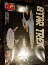 AMT ERTL #6618 Star Trek 3 Piece USS Enterprise Plastic Model Set NIB 1/2500