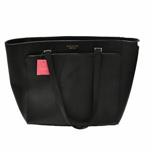 Kate Spade Laptop Tote Zip Close Handbag Cameron Black Damage Ksny Logo New