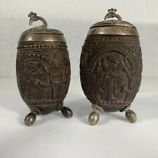 Antique Indian Carved Nut & Silver (Tested) Mustard & Pepper Pot Peacock Hindu