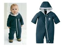 BABY BOY TODDLER QUILTED SNOWSUIT WINTER SUIT JACKET WARM ONE PIECE NAVY BB0009