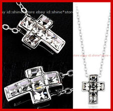 18K GOLD GF P205 CRUCIFIX CROSS DIAMONDS MENS WOMENS SOLID NECKLACE PENDANT GIFT