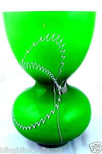 Art Glass Green Vase White Scribbled Paint Design Vintage