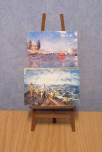 1/12, Dolls House miniature Artists Easel & 2 Paintings Wood Art Painting BN LGW