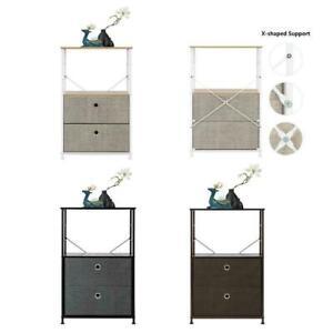 Nightstand 3 Tier 2Drawer Shelf Storage Bedside Furniture End Table Holder Stand