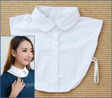 Round Collar False White Faux Cotton Women Collared Button Shirt Blouse Women's