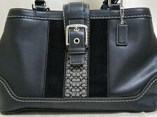 Coach All Leather handbag in black with blue lining, Excellent condition!!