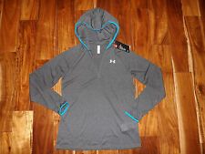 NWT Womens Under Armour Gray Exercise Hoodie Pullover V-Neck Shirt Jacket S