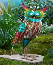 NEW Colorful Metallic OWL Sculpture Statue Outdoor Garden Yard Art